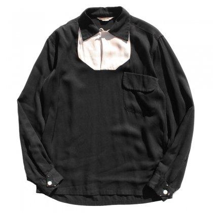 古着 通販 ヴィンテージ L/S ループカラー プルオーバー レーヨン ギャバジン シャツ【El Rancho】【1950's-】ブラック