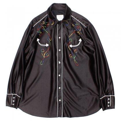 古着 通販 ヴィンテージ 【H BAR C】サテン ウェスタンシャツ【1970's-】Black