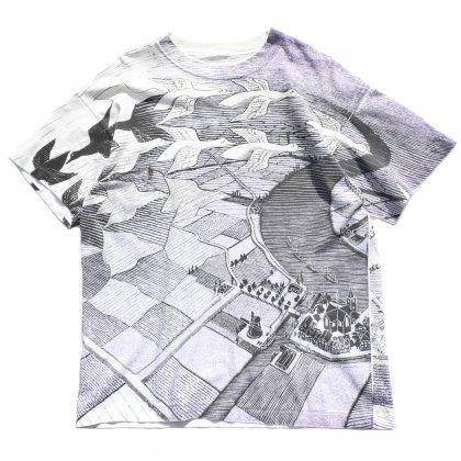 古着 通販 MC エッシャー ヴィンテージ T シャツ【M.C Escher】【Day and Night】【1990s-】オールオーバー プリント