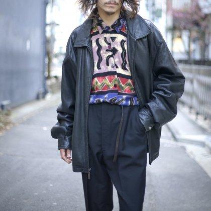 古着 通販 Big Silhouette Leather Jacket × Art Print Shirts Style