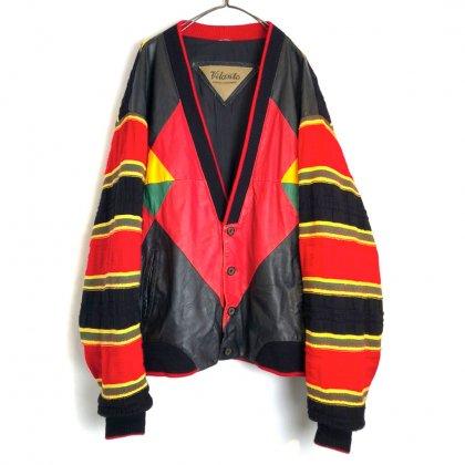 古着 通販 ヴィンテージ レザー & ニット カーディガン【1980's】【Vilanto】Vintage Leather & Knit Cardigan
