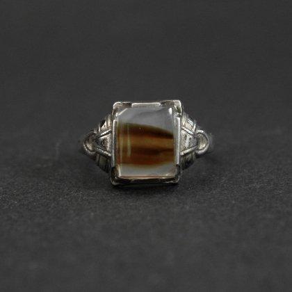 古着 通販 ヴィンテージ シグネット リング【STERLING - White Brown Agate】【1940's-】Art Deco Design