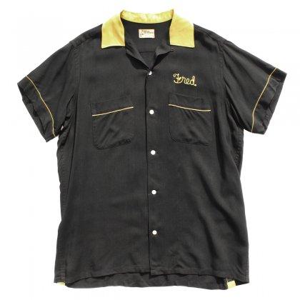 古着 通販 ヴィンテージ S/S レーヨン ボウリングシャツ【Hilton】【1960's-】ブラック イエロー