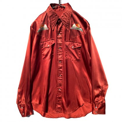 古着 通販 ヴィンテージ レーヨンサテン ウエスタンシャツ【1970's】Vintage Rayon Satin Western Shirt
