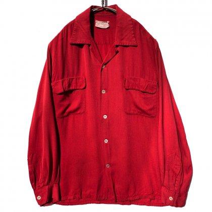 古着 通販 ヴィンテージ L/S ループカラー レーヨン ギャバジン シャツ【Thomas Shirt】【Early 1950's】Vintage Rayon Gabardine Shirts