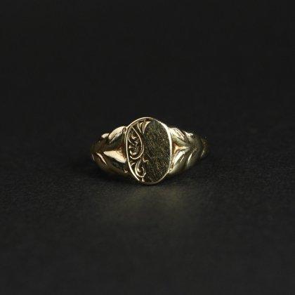 古着 通販 ヴィンテージ シグネット リング【Made in ENGLAND】【375 9ct Gold】Art Deco Design