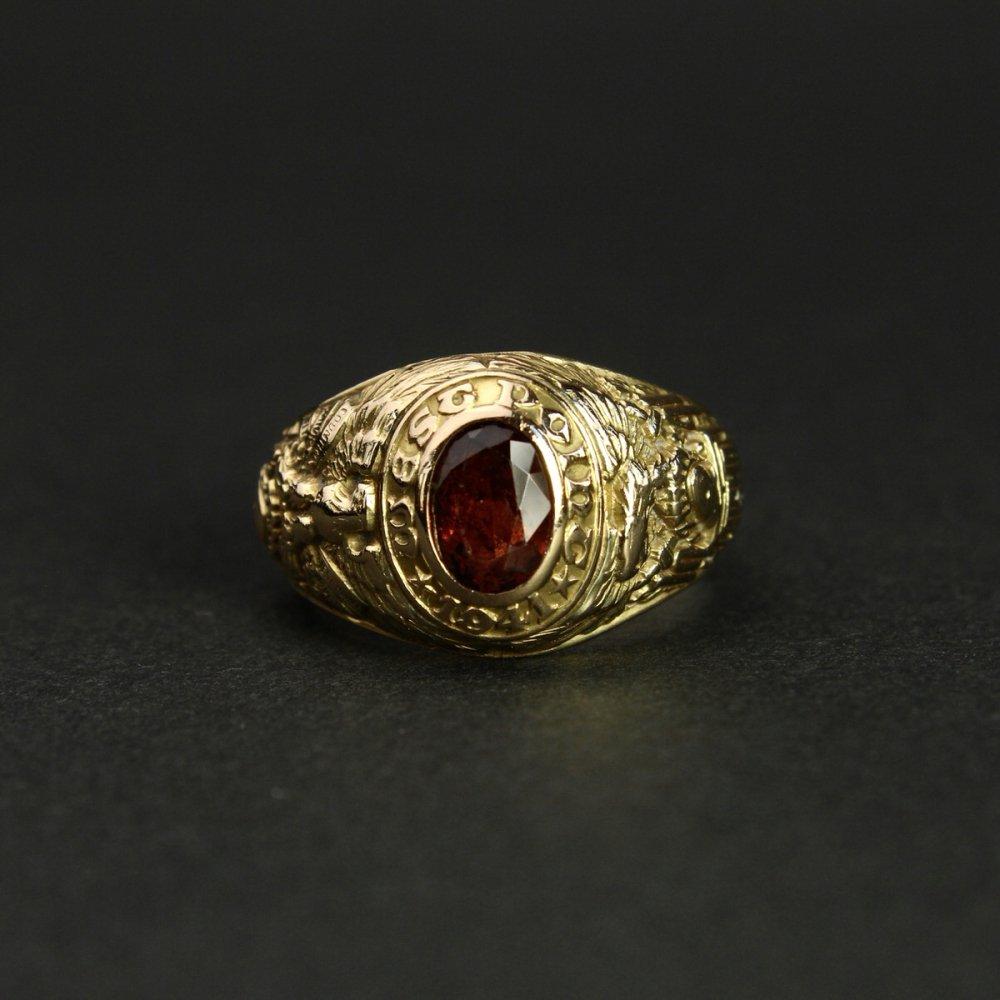 古着 通販 ヴィンテージ ティファニー カレッジリング【TIFFANY & Co】【USMA WEST POINT 1941's-】【14kt Gold】ガーネット トップ Class Ring
