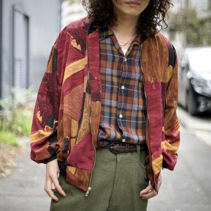 古着 通販 Art Pattern Jacket × 60's Open Collar Check  Shirts Style