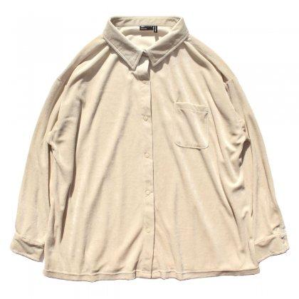 古着 通販 ベロア ビッグシルエット シャツ【asos Design】ナチュラル ベージュ