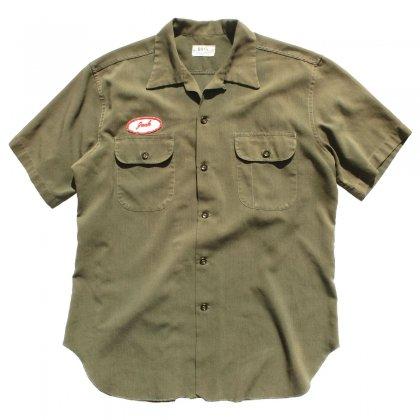 古着 通販 ヴィンテージ S/S ループカラー レーヨン ワーク シャツ【BOSS Commercial uniform Co.】【1950's-】オリーブ L