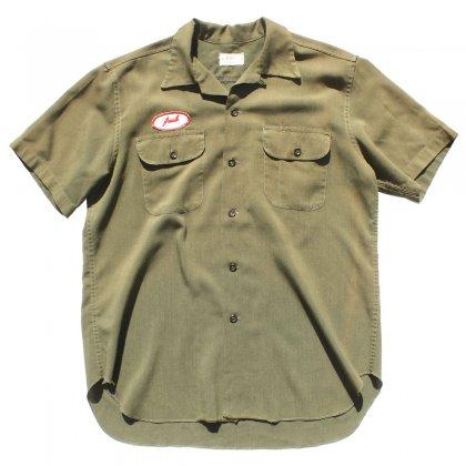 古着 通販 ヴィンテージ S/S ループカラー レーヨン ワーク シャツ【BOSS Commercial uniform Co.】【1950's-】オリーブ XL