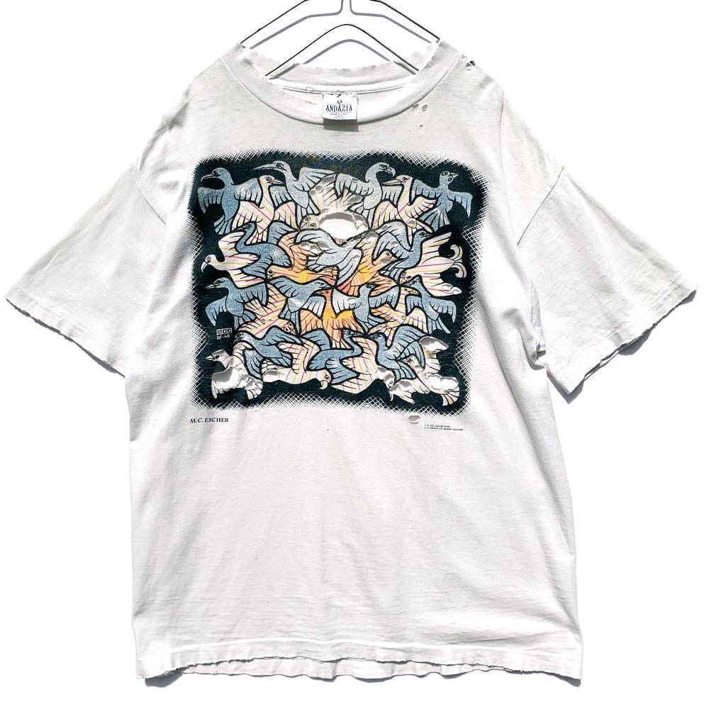 古着 通販 MC エッシャー【M.C Escher】ヴィンテージ ドローイング プリント Tシャツ【1991s】Vintage T-Shirt
