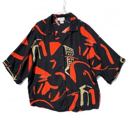 古着 通販 ヴィンテージ S/S アートプリント ドルマンスリーブ レーヨンシャツ【1990's】【Rafaella】Vintage Rayon Shirt