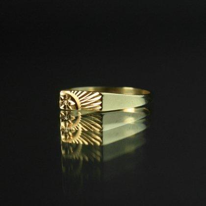 古着 通販 ヴィンテージ シグネット リング【Made in ENGLAND】【375 9ct Gold × Sun Ray Diamonds Top】