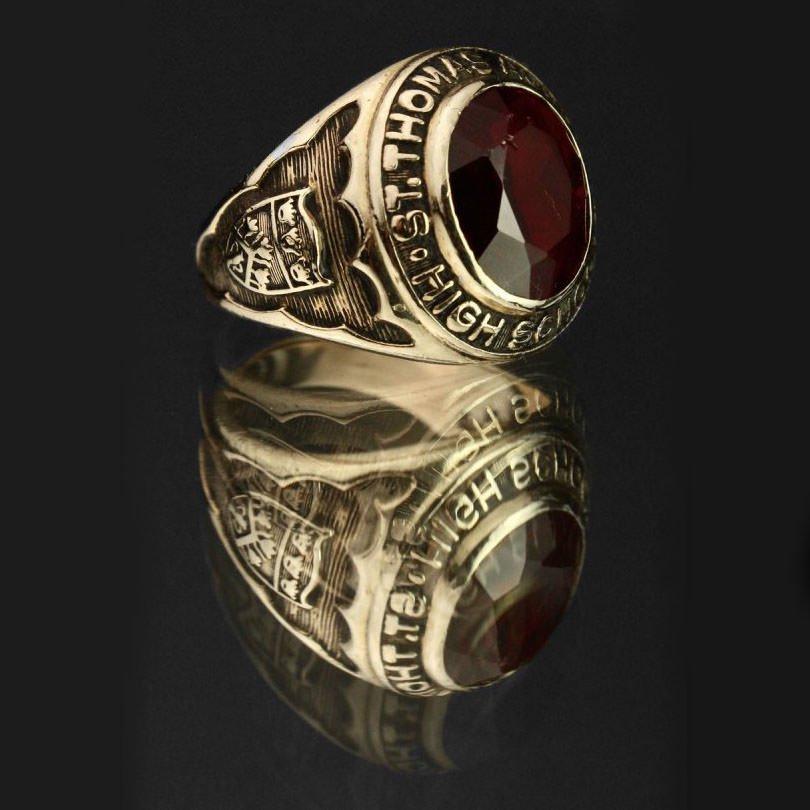 古着 通販 ヴィンテージ カレッジリング【1968's-】【O'NEIL CO 10kt Gold】Red Stone Round