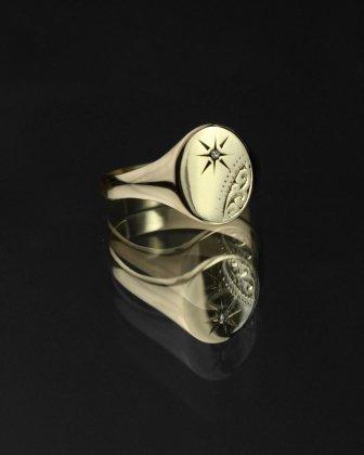 古着 通販 ヴィンテージ シグネット リング【Made in ENGLAND】【375 9ct Gold × Round Top Diamonds】