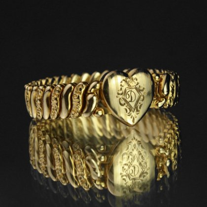 古着 通販 ヴィンテージ スウィートハート ブレスレット【1920'~】【PITMAN & KEELER -  AMERICAN QUEEN】【Gold Field Heart Top】