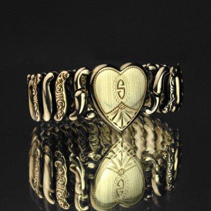 古着 通販 ヴィンテージ スウィートハート ブレスレット【1920'~】【PITMAN & KEELER -  AMERICAN QUEEN】【STERLING Gold Field Heart Top】