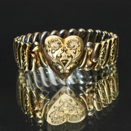 古着 通販 ヴィンテージ スウィートハート ブレスレット【1920'~】【Unknown Brand】【Gold Field Heart Flower Top】