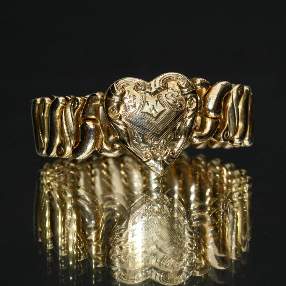 古着 通販 ヴィンテージ スウィートハート ブレスレット【1920'~】【SPEIDLE Phoenix 】【Gold Field Heart Signet Top】