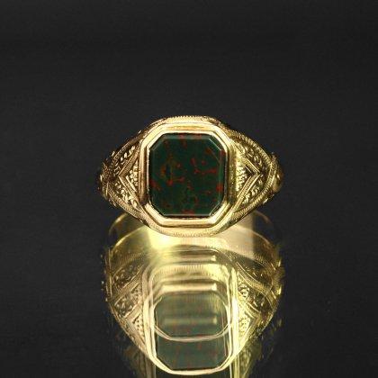 古着 通販 アンティーク シグネット リング【Made in Sweden 1879's-】【750 18ct Gold × Blood Stone Top】Celtic Knot