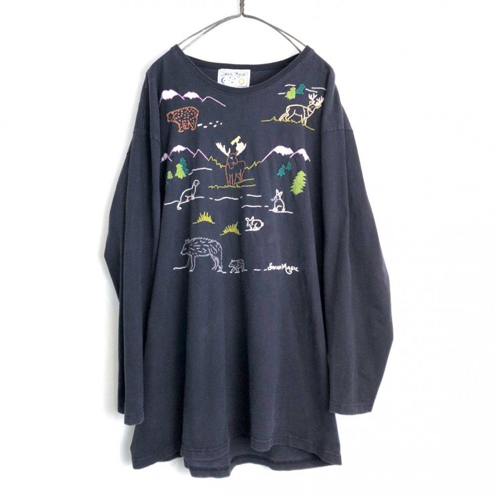 古着 通販 ヴィンテージ  L/S 刺繍 Tシャツ【1980's-】【SWAN MAGIC】Vintage Hand Embroidered L/S T-Shirt