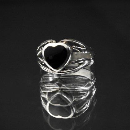 古着 通販 ヴィンテージ クラダーリング【925 Silver × Onyx Double Hand Top】Vintage Claddagh Ring