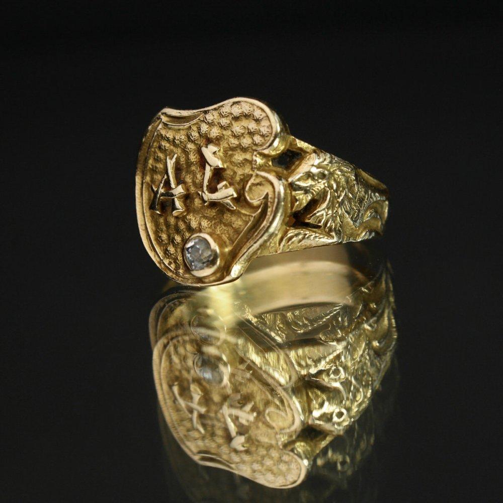古着 通販 アンティーク シグネット リング【1800s~ Victorian】【14k Gold & Diamond】 ライオン デザイン