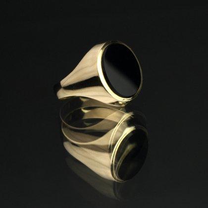 古着 通販 ヴィンテージ シグネット リング【Made in ENGLAND】【375 9ct Gold × Onyx Round Top】