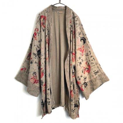 古着 通販 ヴィンテージ レーヨンシャツガウン 浮世絵柄【1990's】Vintage Japanese Art Rayon Haori Shirt