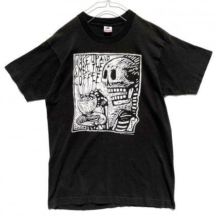 古着 通販 【CARL SMOOL】ヴィンテージ スカルプリント Tシャツ【1989's】【Wake up and smell the coffee】Vintage Skull Print T-Shirt