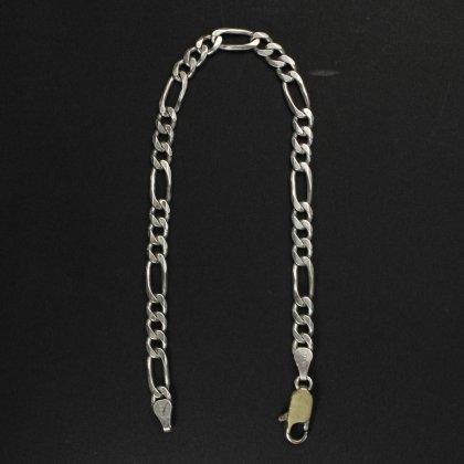 古着 通販 ヴィンテージ シルバー チェーン ブレスレット【925 STERLING Silver Italy】Figaro Chain