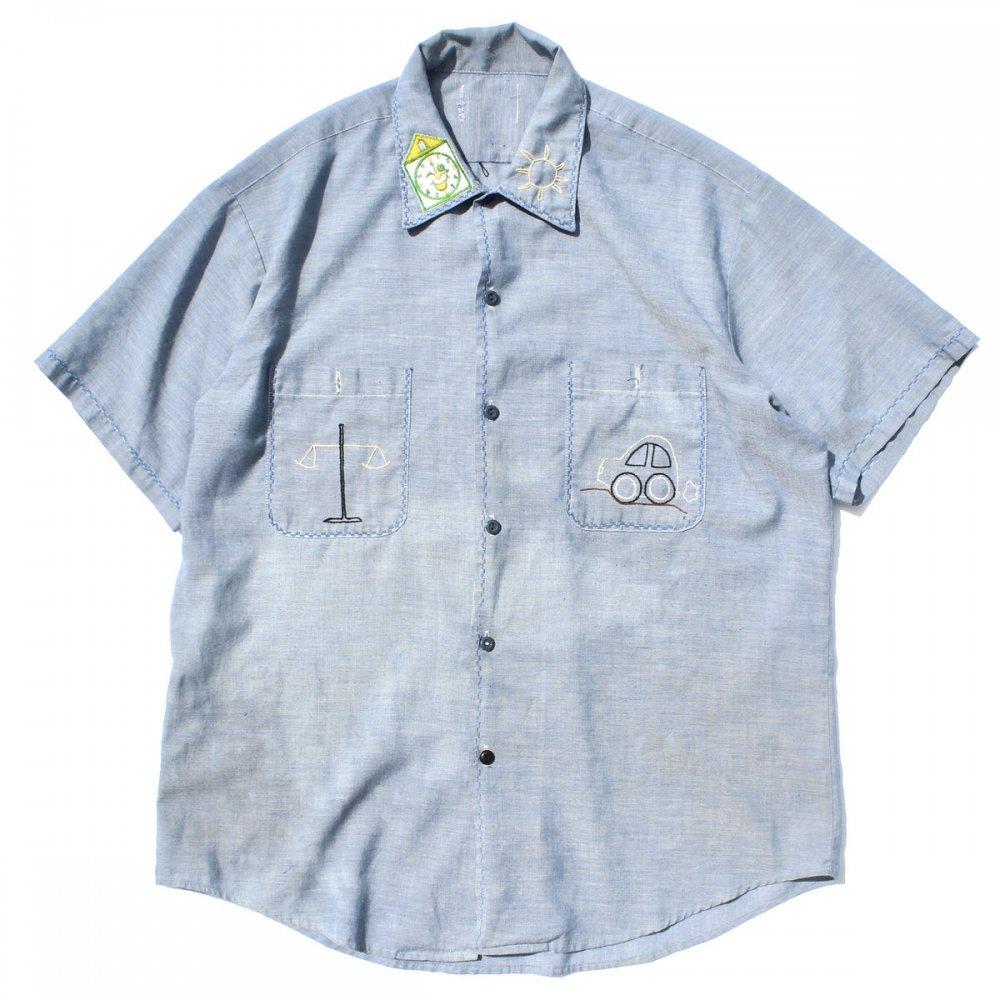 古着 通販 ヴィンテージ S/S シャンブレー シャツ【Unknown Brand】【1970's-】Chain Embroidery