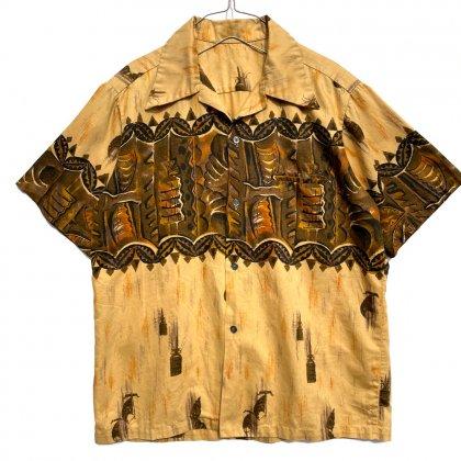 古着 通販 ヴィンテージ コットン アロハシャツ ティキ柄【1970's-】Vintage Hawaiian Shirt