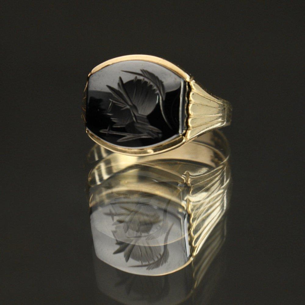 古着 通販 ヴィンテージ メンズ カメオ リング【Made in ENGLAND】【375 - 9ct Gold】ヘマタイト ストーン
