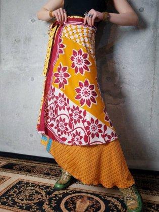 古着 通販 エキゾチック柄レイヤードシルク巻きスカートOriental Pattern Layered Silk Wrap Skirt