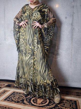 古着 通販 タイガー柄ベルスリーブワンピースTiger Sheer Rayon Bell Sleeves Maxi Dress