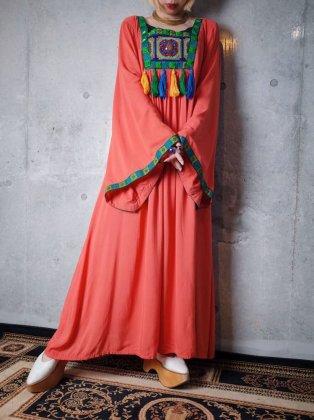 古着 通販 クロスステッチ刺繍ベルスリーブワンピースCross Stitch Embroidery Bell Sleeve Dress