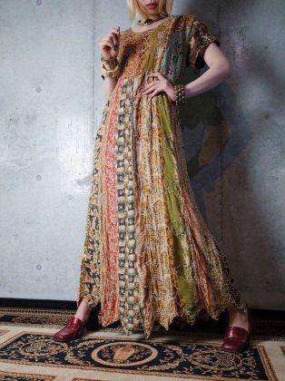 古着 通販 ヴィンテージパッチワーク×刺繍レーヨンワンピース 1980-90s Patchwork & Embroidery Rayon Dress