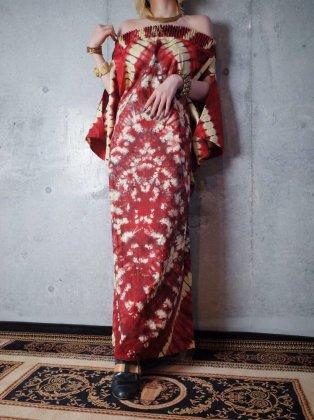 古着 通販 ヴィンテージ アフリカンバティック タイダイ オフショルダー ワンピース Tie Dye African Batik Off-shoulder Dress