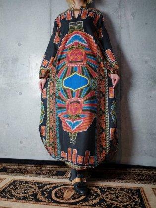 古着 通販 ヴィンテージ 顔 バティック柄 ワンピース 1970年代 Double Face Dress c.1970s