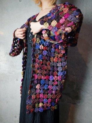 古着 通販 ヴィンテージ ヨーヨーキルト ガウン 1960-70年代 Thailand Silk Yo-yo Quilt Gown c.1960-70s