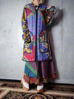 """古着 通販 ヴィンテージ """"刺し子"""" ハンドキルト リバーシブルロングジャケット 1960-70年代 """"刺子"""" Hand Quilt Long Jacket Reversible c.1960-70s"""