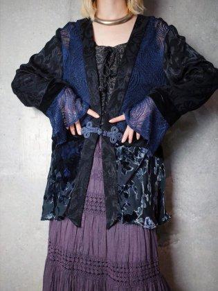 古着 通販 ヴィンテージ レース×ベルベット 切替 チャイナガウン Lace × Velvet Switch China Gown