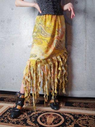 古着 通販 ヴィンテージ スパイラルフリンジ アシンメトリー ペイズリースカート Spiral Fringe Asymmetry Paisley Skirt