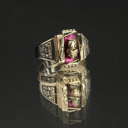 古着 通販 ヴィンテージ カレッジリング【HERFF JONES 14kt Gold】【1990's-】Ruby Grass Top & GLD Emblem