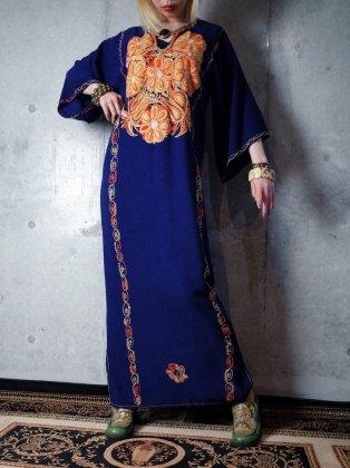 古着 通販 ヴィンテージ 刺繍 レーヨンワンピース 1970年代 Deep Navy Rayon × Orange Embroidery Dress c.1970s