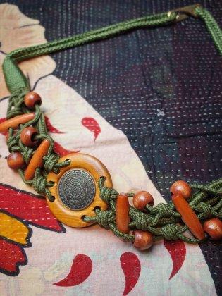 古着 通販 ヴィンテージ ロープ編み込みベルト Rope Braided Belt Green×Wood