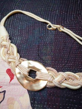 古着 通販 ヴィンテージ ロープ編み込みベルト Rope Braided Belt White×Gold