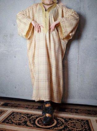 古着 通販 ヴィンテージ 刺繍 チェック柄 カフタン ワンピース Embroidery Check Kaftan Dress